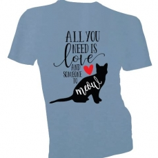 T-shirt - All you Need Is Love - Cat - Blue - Small